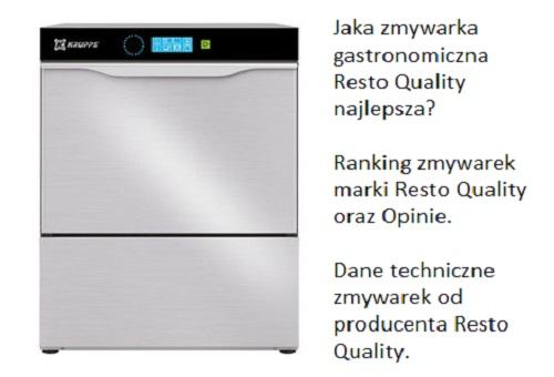 Jaka zmywarka gastronomiczna Resto Quality najlepsza? Ranking zmywarek marki Resto Quality oraz Opinie. Dane techniczne zmywarek od producenta Resto Quality.
